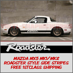 Mazda MX5 Mk1 Mk2 Eunos Roadster Side Stripes Vinyl Graphic Roadster Style