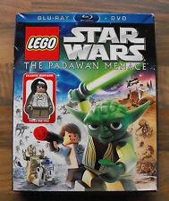 LEGO STAR WARS THE PADAWAN MENANCE Ltd Edition Blu Ray & DVD Inc HAN SOLO FIGURE