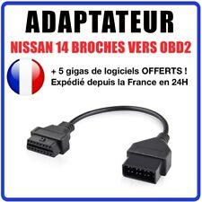 Connecteur diagnostic CABLE OBD2 14 broches VERS 16 pins - NISSAN