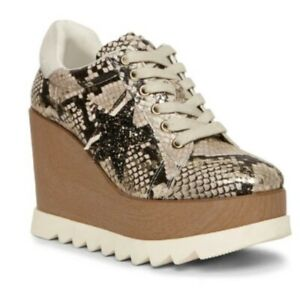 Steve Madden UPSTAR Lace-up Wedge Heeled Sneakers Size 10 Animal Print Snake