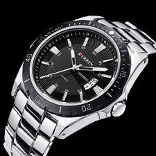 Luxury Sport Men's Man Stainless Steel Date Quartz Analog Black Dial Wrist Watch