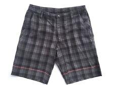 Men's LULULEMON Flat Front Casual/Walking Shorts Blue Plaid Size 36