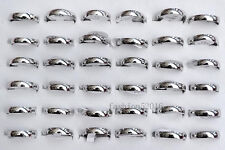 Fashion Wholesale Lots 12ps 4mm Silver Arc Smooth Stainless Steel Rings Woman