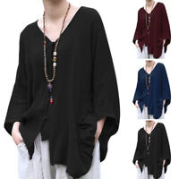 Women's Batwing Sleeve Buttons V Neck Casual Shirt Tops Waterfall Ethnic Blouse