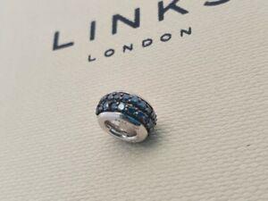 Genuine Links of London Sweetie Blue Diamond Pave Bead Sterling Silver RRP £120