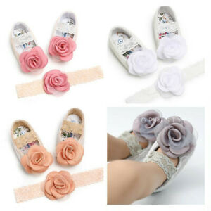 Newborn Baby Girl Soft Pram Shoes Infant Birthday Party Flower Hair Headband Set
