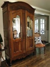 Antique French Country Wedding Armoire 2 Mirrored + Paneled Doors Walnut Carving