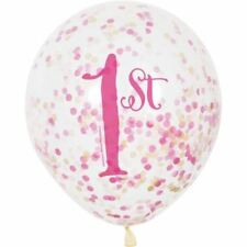 """6 12"""" Clear Pink 1st Confetti Filled Balloons Birthday Party Decorations"""
