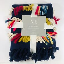 """Multi Color Fringed Throw Blanket 50"""" X 70"""" Blue Holiday Gift Noble Excellence"""