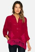 Johnny Was Red  Eyelet Whitley Scalloped Blouse Top #C11817 Plus Size  New PGS
