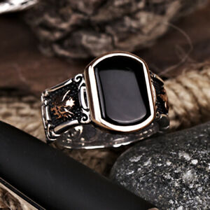 Black Stone Onyx Silver Men Statement Ring Ottoman Heraldry Personalized Jewelry