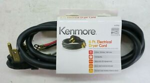 Kenmore 57001 6' Electrical Dryer Cord 30Amp 4 Wire 4 Prong 10/4 GA Heavy Duty