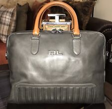 Ralph Lauren Black Label Gent s Quilted Leather Briefcase GRAY w Shoulder  Strap a41e78915ee9f