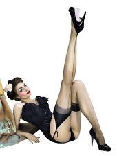 Strapsstrümpfe Retro Pin-up Bourlesque 100%Nylon 20 DEN mit Naht schwarz beige