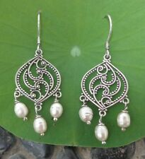 Three Pearl Beads Solid Silver, 925 Bali Handcrafted Earring 39001