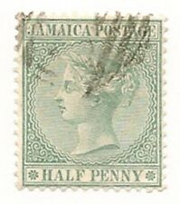1885 Jamaica 1/2 P Stamp.. Green..SC # 16 / A7   Cancelled/hinge..WMK #1