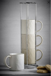 NEXT Stackable Mug set Fern Set of 4 Stacking Mugs And Stand New