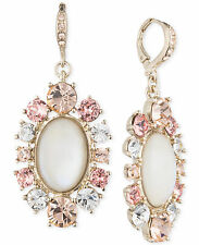 $68 Givenchy Gold Tone White Mother Of Pearl Pink Peach Crystal Drop Earrings