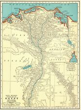 1937 Vintage  MAP of EGYPT Antique Egypt Map Nile River Gallery Wall Art 5998