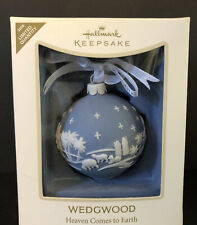 2008 Ornament Wedgwood Jasperware Blue Heaven Comes To Earth Christmas Hallmark