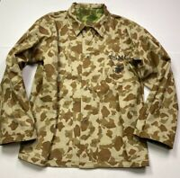 "WWII USMC MARINE P42 ""FROG SKIN"" CAMO HBT COMBAT FIELD JACKET- SIZE 5 (2XLARGE)"