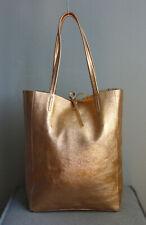 Damen Schultertasche Tasche Handtasche Shopper metallic Kupfer Leder Italy