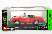 ALFA ROMEO SPIDER 1:32 scale model toy car metal diecast die cast miniature red