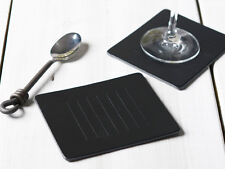 Set of 6 BLACK EMBOSSED Leatherboard COASTERS