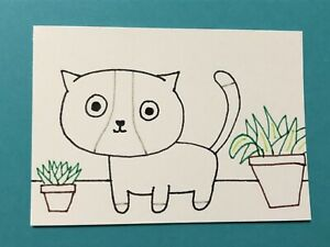 Original ACEO Art Card - Cat And Plants - Ink Drawing