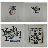 VTG 90's It's Just A Game Yeah Right Baseball White Short Sleeve T-Shirt XL USA