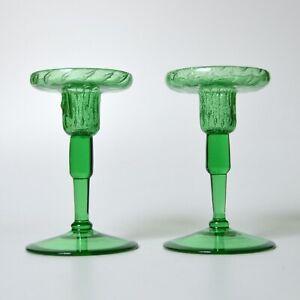 vintage signed STEUBEN SILVERINA Pomona Green candlestick holders