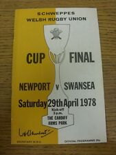 29/04/1978 Rugby Union Programme: Welsh Cup Final, Newport v Swansea [At Cardiff
