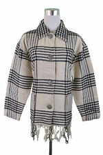 Womens Vtg 70s Tassel Western Check Tartan Wool Oversize Jacket sz 8 10 12 G93