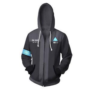 Detroit: Become Human Connor RK800 Hoodie Sweatshirt Zipper Jacket Cosplay Coat