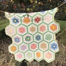 VTG Amish 2 Small Grandmother's Flower Garden Quilts 34x55 Crib Wallhanging Twin