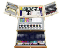Professional Set Art Supplies Portable Wooden Case Deluxe Painting Drawing Teens