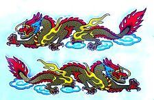 2 AUFKLEBER Sticker DRACHE Drachen Dragon China gold bunt farben xl - je 33x9 cm