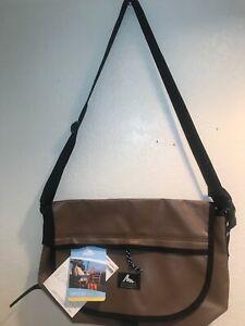 NWT Gregory Vinyl Messenger LT Bag Carry All Brown Shoulder Made in USA