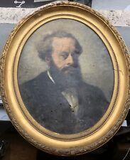 Tableau Ancien Huile Portrait Homme Barbu HENRI MARTIN Cadre XIXe À Restaurer