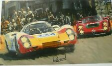 PORSCHE 907 Targa Florio 1968 Vic Elford Victory Art on canvas signed by Elford
