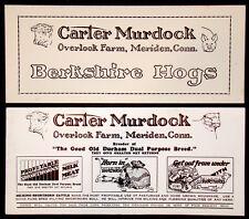 2 Vintage CARTER MURDOCK Advertising FOUNTAIN PEN INK BLOTTER Pig Cow MERIDEN CT