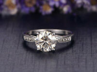 Real 14K White Gold 1.24 Ct Round Diamond Engagement Beautiful Ring Size 7.5 8