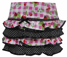 Hell Bunny St Tropez Cherry Check Tartan Pink Black Summer Mini Skirt Small UK 8