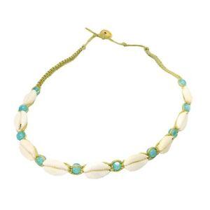 Hawaiian Hemp Single Blue Bead Shell Necklace Hawaii Choker