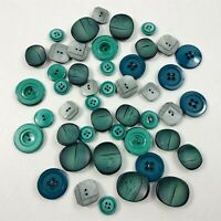Button Lot Vintage Teal Green Plastic Round Buttons Mixed Lot