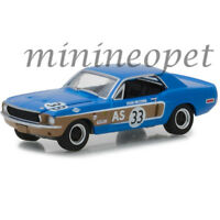 GREENLIGHT 13220 E 1968 FORD MUSTANG AS #33 1/64 DIECAST JOHN MCCOMB BLUE