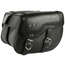 MPW Universal Custom Leather Pannier Saddlebags For Harley Davidson