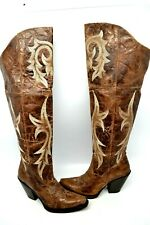 Dan Post Leather Jilted Womens SZ 8 B KNEE HIGH Snip Western Cowboy Boot DP3709