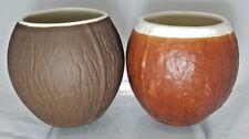 Genuine Trader Vic VK Ceramic Faux Brown Coconut Mugs Made USA Cup Brown Cream