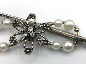 Lilla Rose Flexi8 Hair Clip - Silver + Pearl - SMALL (#1320-24)